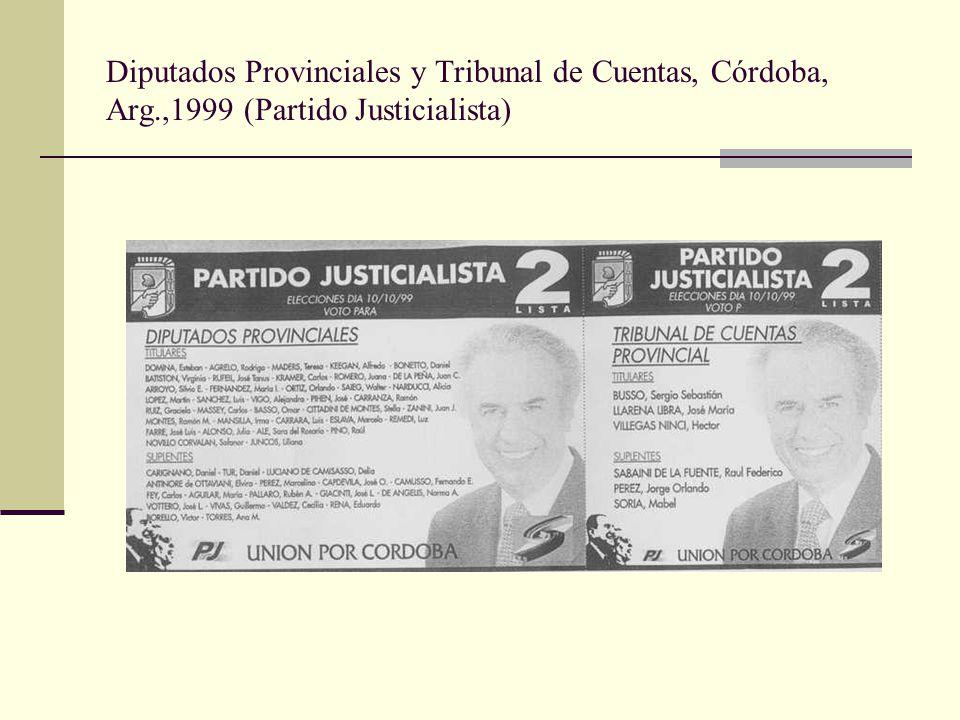 Diputados Provinciales y Tribunal de Cuentas, Córdoba, Arg.,1999 (Partido Justicialista)