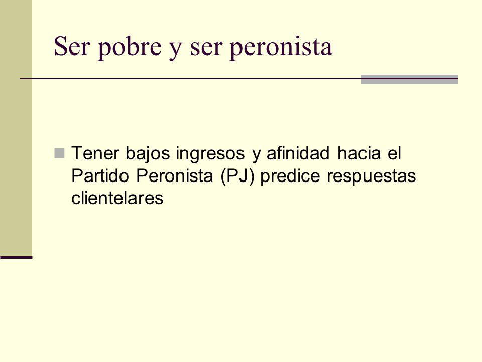 Ser pobre y ser peronista Tener bajos ingresos y afinidad hacia el Partido Peronista (PJ) predice respuestas clientelares
