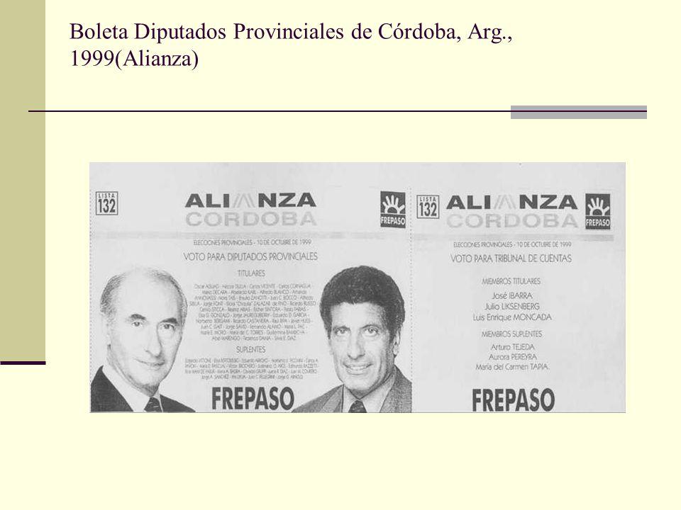 Boleta Diputados Provinciales de Córdoba, Arg., 1999(Alianza)
