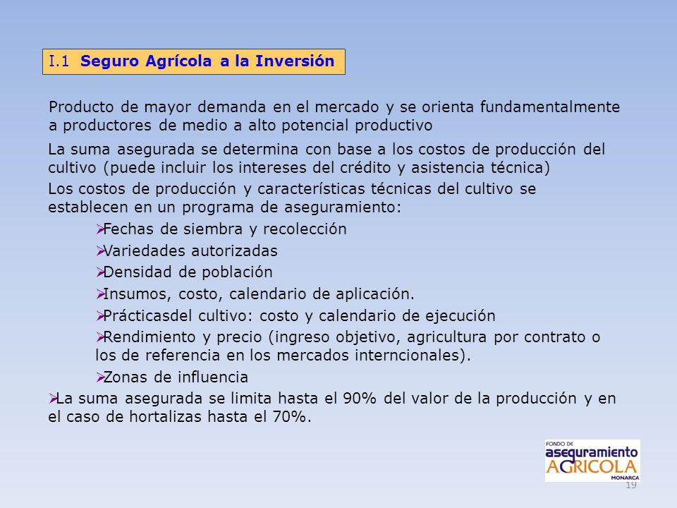19 La suma asegurada se determina con base a los costos de producción del cultivo (puede incluir los intereses del crédito y asistencia técnica) Los c
