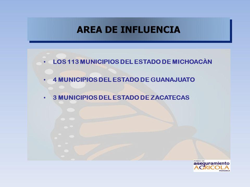 AREA DE INFLUENCIA LOS 113 MUNICIPIOS DEL ESTADO DE MICHOACÀN 4 MUNICIPIOS DEL ESTADO DE GUANAJUATO 3 MUNICIPIOS DEL ESTADO DE ZACATECAS