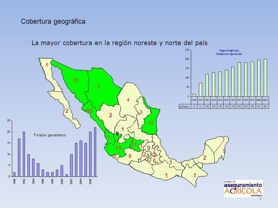 4 5 2 23 9 4 2 53 3 60 11 15 2 1 1 2 1 21 1 2 6 2 9 2 6 1 La mayor cobertura en la región noreste y norte del país Cobertura geográfica