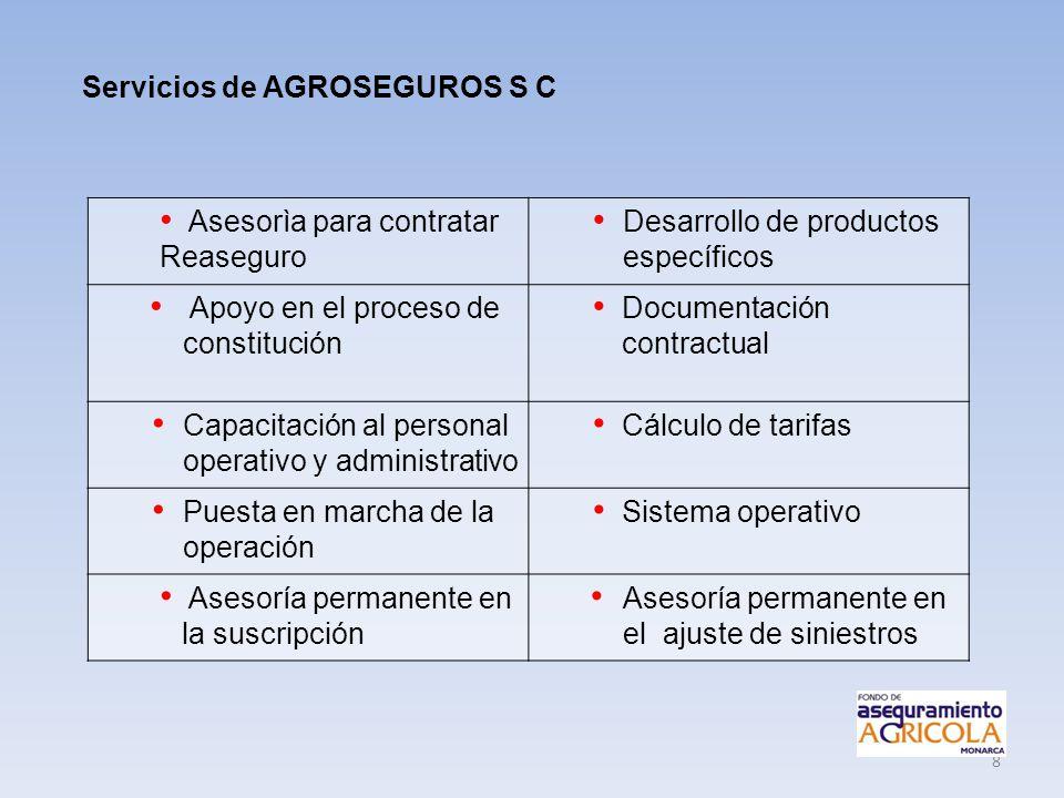 8 Asesorìa para contratar Reaseguro Desarrollo de productos específicos Apoyo en el proceso de constitución Documentación contractual Capacitación al