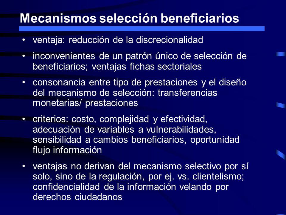 Mecanismos selección beneficiarios ventaja: reducción de la discrecionalidad inconvenientes de un patrón único de selección de beneficiarios; ventajas