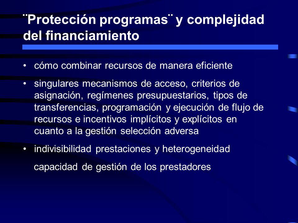 ¨Protección programas¨ y complejidad del financiamiento cómo combinar recursos de manera eficiente singulares mecanismos de acceso, criterios de asign