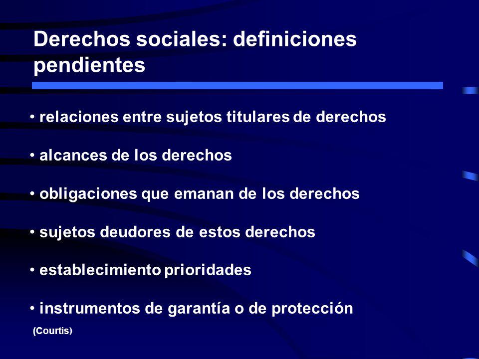 Derechos sociales: definiciones pendientes relaciones entre sujetos titulares de derechos alcances de los derechos obligaciones que emanan de los dere