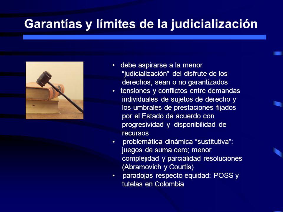 Garantías y límites de la judicialización debe aspirarse a la menor judicialización del disfrute de los derechos, sean o no garantizados tensiones y c