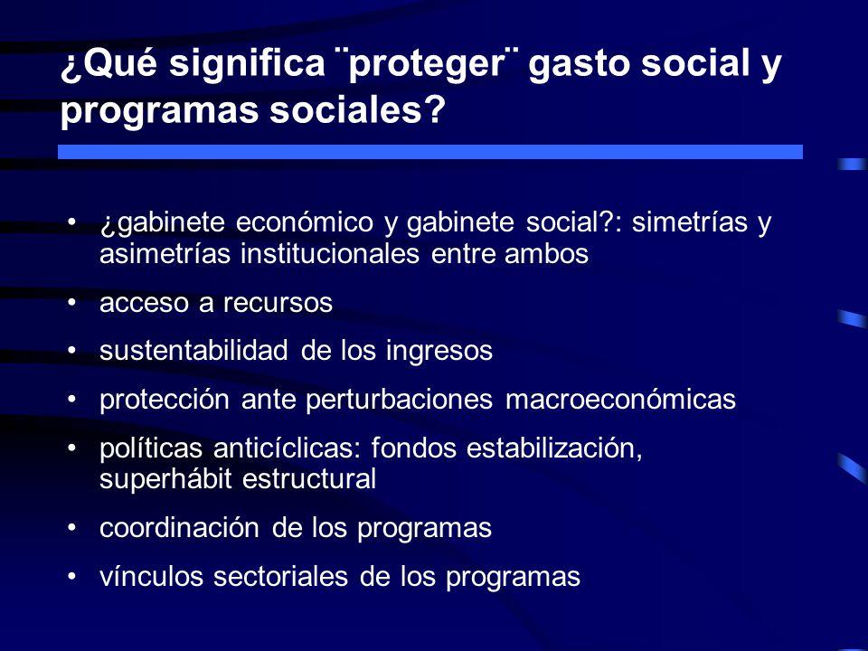 ¿Qué significa ¨proteger¨ gasto social y programas sociales? ¿gabinete económico y gabinete social?: simetrías y asimetrías institucionales entre ambo