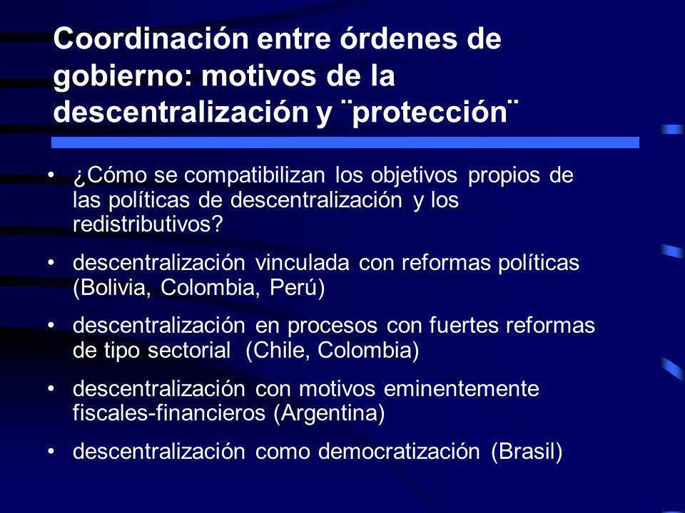 Coordinación entre órdenes de gobierno: motivos de la descentralización y ¨protección¨ ¿Cómo se compatibilizan los objetivos propios de las políticas