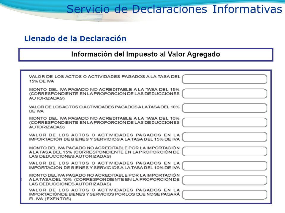 Llenado de la Declaración Información del Impuesto al Valor Agregado Servicio de Declaraciones Informativas