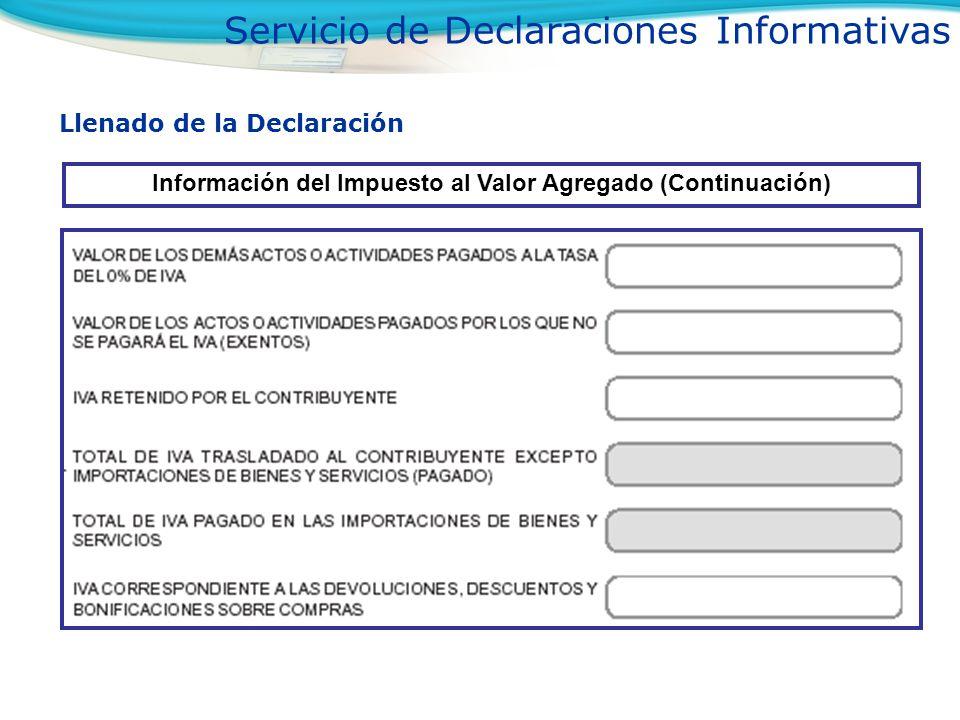 Llenado de la Declaración Información del Impuesto al Valor Agregado (Continuación) Servicio de Declaraciones Informativas