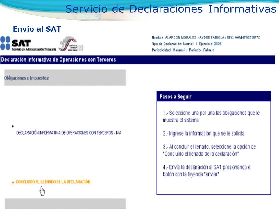 Envío al SAT Servicio de Declaraciones Informativas