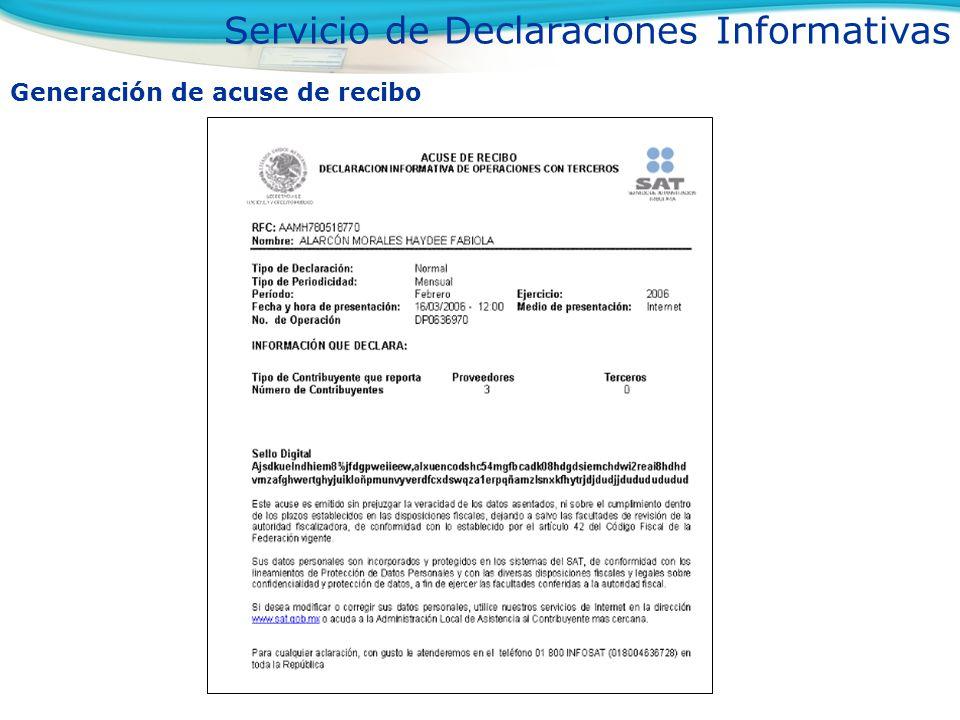 Generación de acuse de recibo Servicio de Declaraciones Informativas