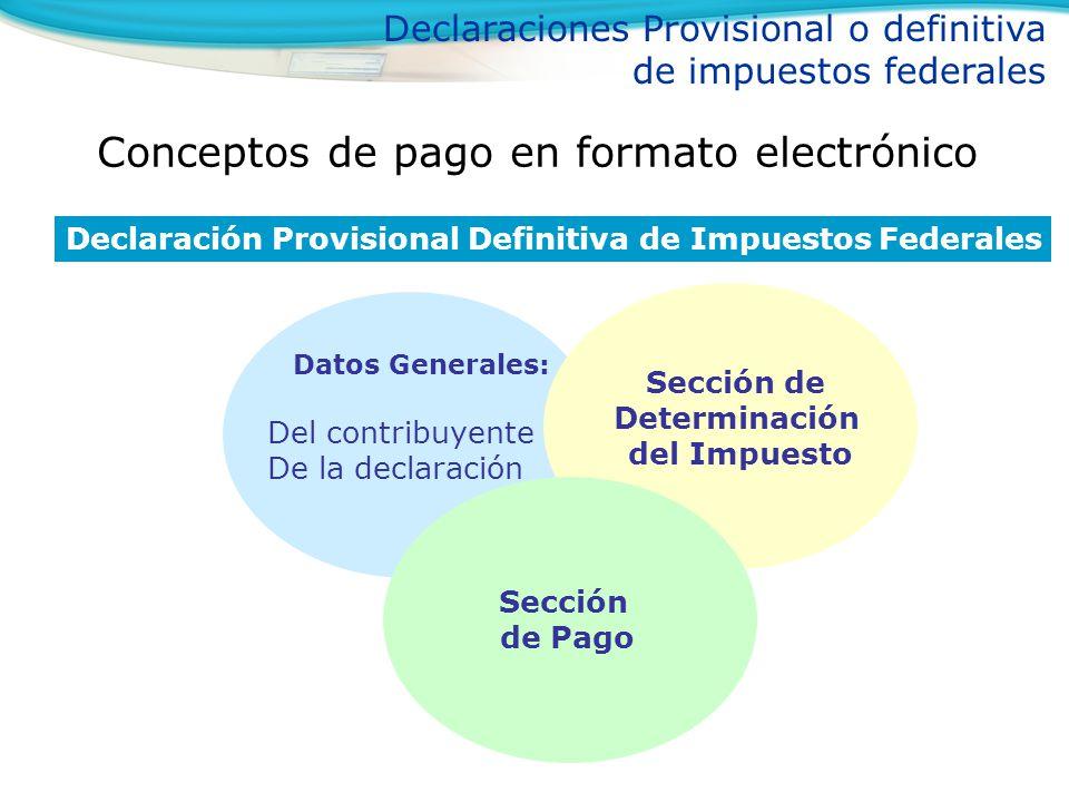 Conceptos de pago en formato electrónico Declaraciones Provisional o definitiva de impuestos federales Declaración Provisional Definitiva de Impuestos