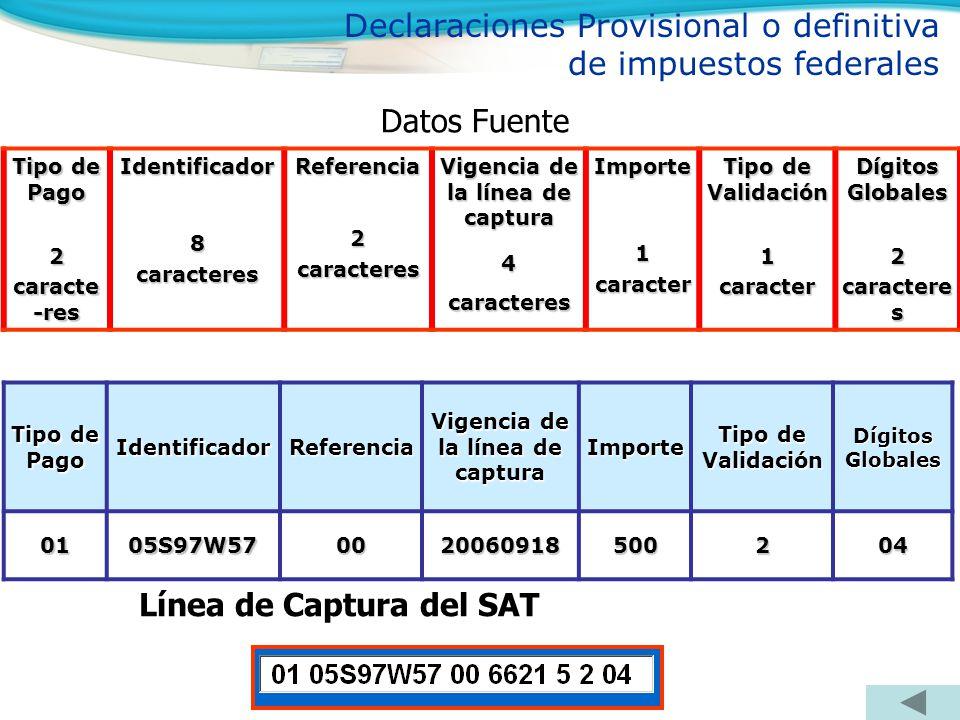 Tipo de Pago IdentificadorReferencia Vigencia de la línea de captura Importe Tipo de Validación Dígitos Globales 0105S97W570020060918500204 Línea de C