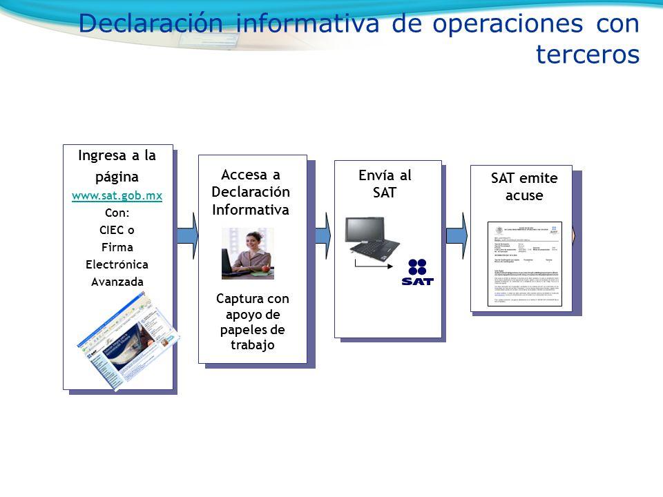 Envía al SAT Accesa a Declaración Informativa Ingresa a la página www.sat.gob.mx www.sat.gob.mx Con: CIEC o Firma Electrónica Avanzada SAT emite acuse