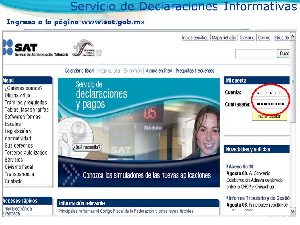 Selecciona el servicio Declaraciones Servicio de Declaraciones y Pagos