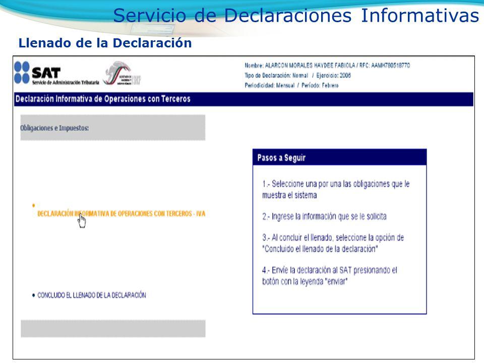 Llenado de la Declaración Información de Identificación del Proveedor o Tercero Servicio de Declaraciones Informativas