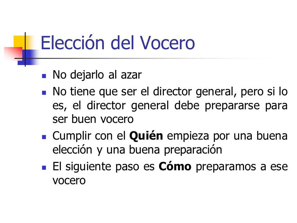 Elección del Vocero No dejarlo al azar No tiene que ser el director general, pero si lo es, el director general debe prepararse para ser buen vocero C