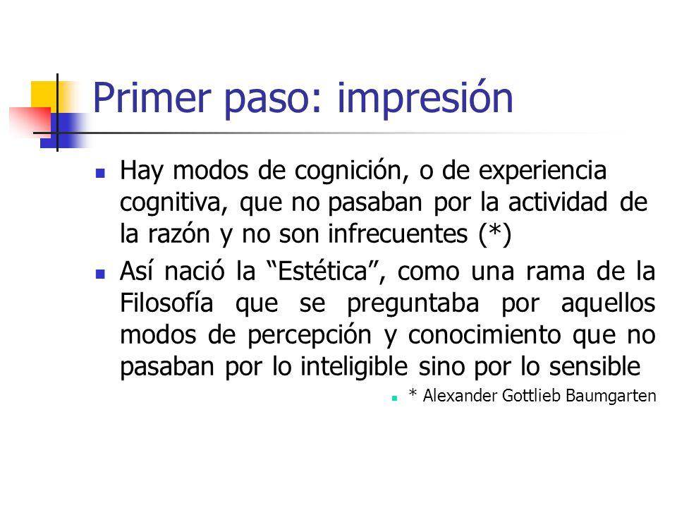 Primer paso: impresión Hay modos de cognición, o de experiencia cognitiva, que no pasaban por la actividad de la razón y no son infrecuentes (*) Así n