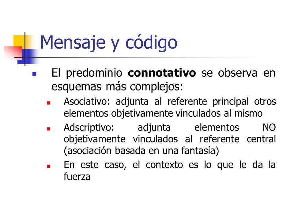 Mensaje y código El predominio connotativo se observa en esquemas más complejos: Asociativo: adjunta al referente principal otros elementos objetivame