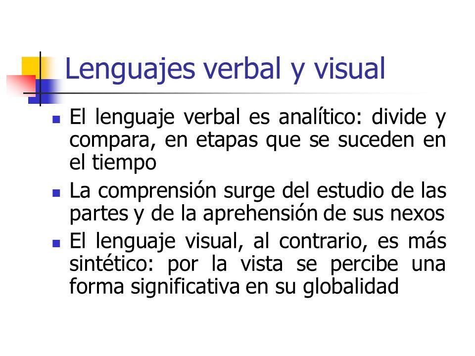 Lenguajes verbal y visual El lenguaje verbal es analítico: divide y compara, en etapas que se suceden en el tiempo La comprensión surge del estudio de