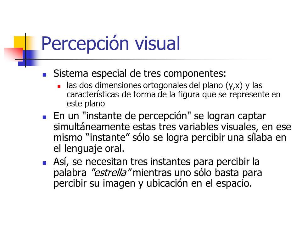 Percepción visual Sistema especial de tres componentes: las dos dimensiones ortogonales del plano (y,x) y las características de forma de la figura qu