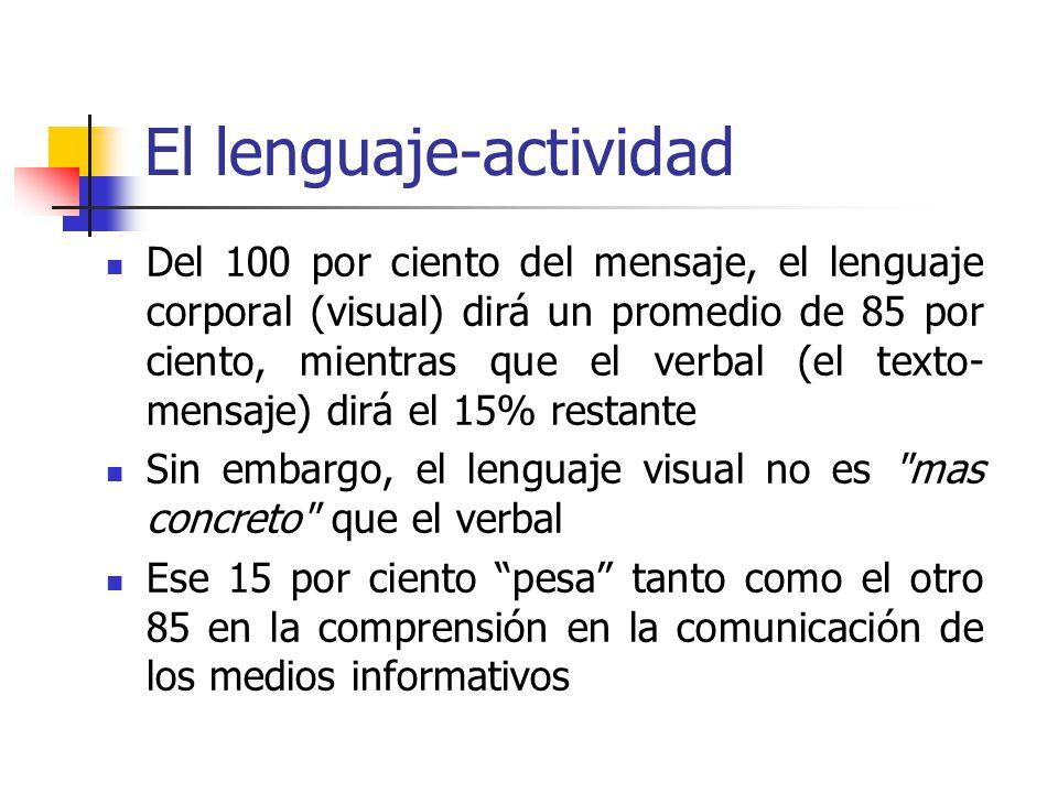 El lenguaje-actividad Del 100 por ciento del mensaje, el lenguaje corporal (visual) dirá un promedio de 85 por ciento, mientras que el verbal (el text