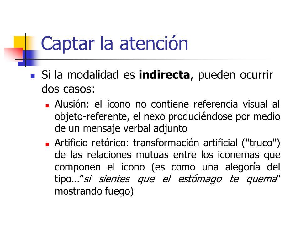 Captar la atención Si la modalidad es indirecta, pueden ocurrir dos casos: Alusión: el icono no contiene referencia visual al objeto-referente, el nex