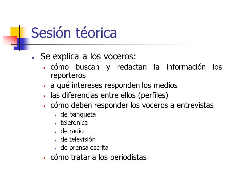 Sesión téorica Se explica a los voceros: cómo buscan y redactan la información los reporteros a qué intereses responden los medios las diferencias ent