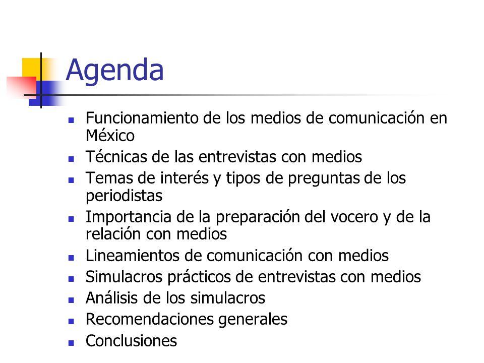 Agenda Funcionamiento de los medios de comunicación en México Técnicas de las entrevistas con medios Temas de interés y tipos de preguntas de los peri