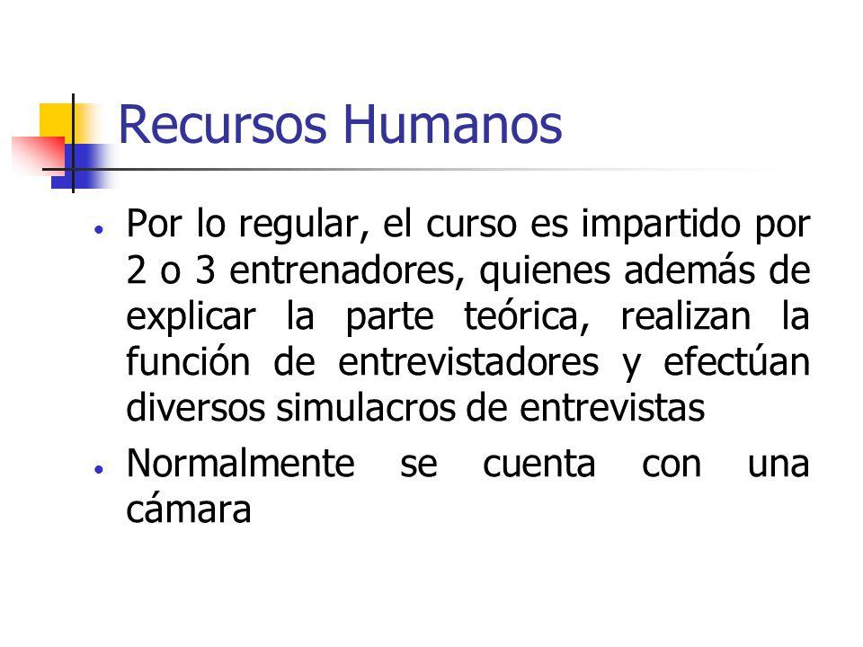 Recursos Humanos Por lo regular, el curso es impartido por 2 o 3 entrenadores, quienes además de explicar la parte teórica, realizan la función de ent