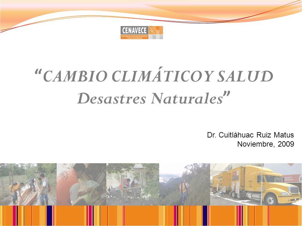 CAMBIO CLIMÁTICO Y SALUD Desastres Naturales Dr. Cuitláhuac Ruiz Matus Noviembre, 2009