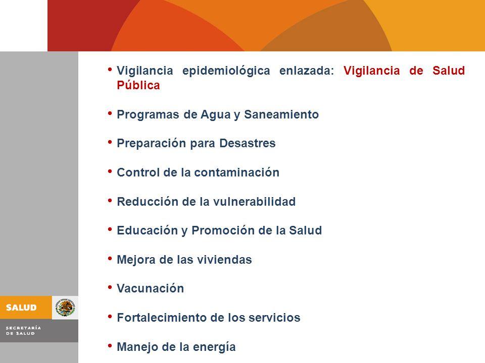 Vigilancia epidemiológica enlazada: Vigilancia de Salud Pública Programas de Agua y Saneamiento Preparación para Desastres Control de la contaminación Reducción de la vulnerabilidad Educación y Promoción de la Salud Mejora de las viviendas Vacunación Fortalecimiento de los servicios Manejo de la energía