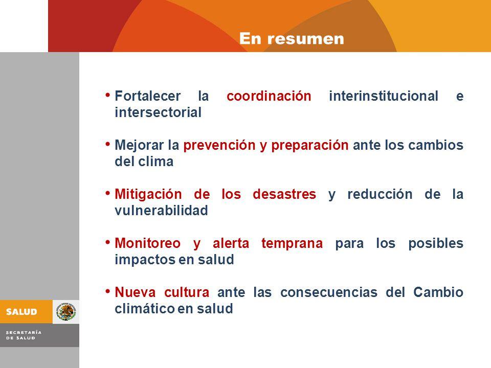 Fortalecer la coordinación interinstitucional e intersectorial Mejorar la prevención y preparación ante los cambios del clima Mitigación de los desastres y reducción de la vulnerabilidad Monitoreo y alerta temprana para los posibles impactos en salud Nueva cultura ante las consecuencias del Cambio climático en salud En resumen