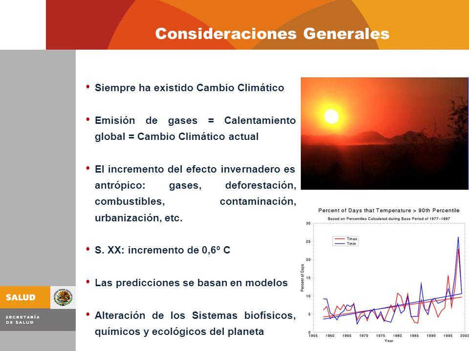 Siempre ha existido Cambio Climático Emisión de gases = Calentamiento global = Cambio Climático actual El incremento del efecto invernadero es antrópico: gases, deforestación, combustibles, contaminación, urbanización, etc.