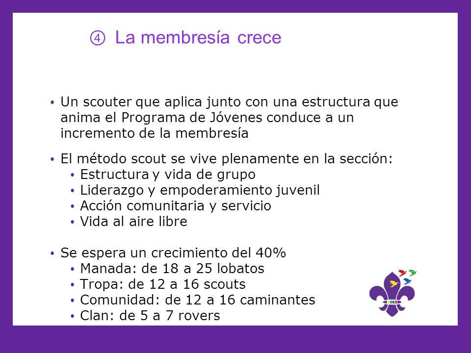La membresía crece Un scouter que aplica junto con una estructura que anima el Programa de Jóvenes conduce a un incremento de la membresía El método s