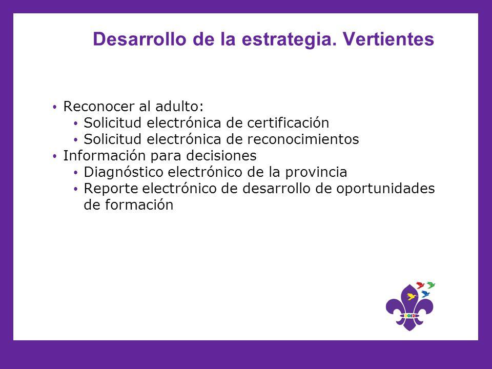 Desarrollo de la estrategia. Vertientes Reconocer al adulto: Solicitud electrónica de certificación Solicitud electrónica de reconocimientos Informaci