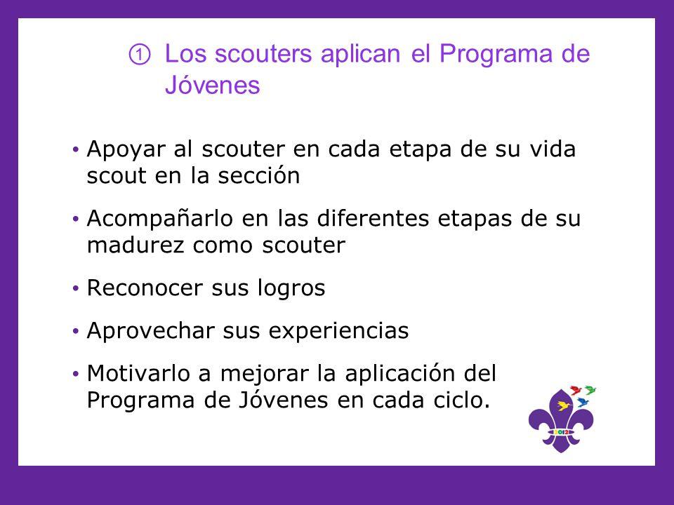 Los scouters aplican el Programa de Jóvenes Apoyar al scouter en cada etapa de su vida scout en la sección Acompañarlo en las diferentes etapas de su