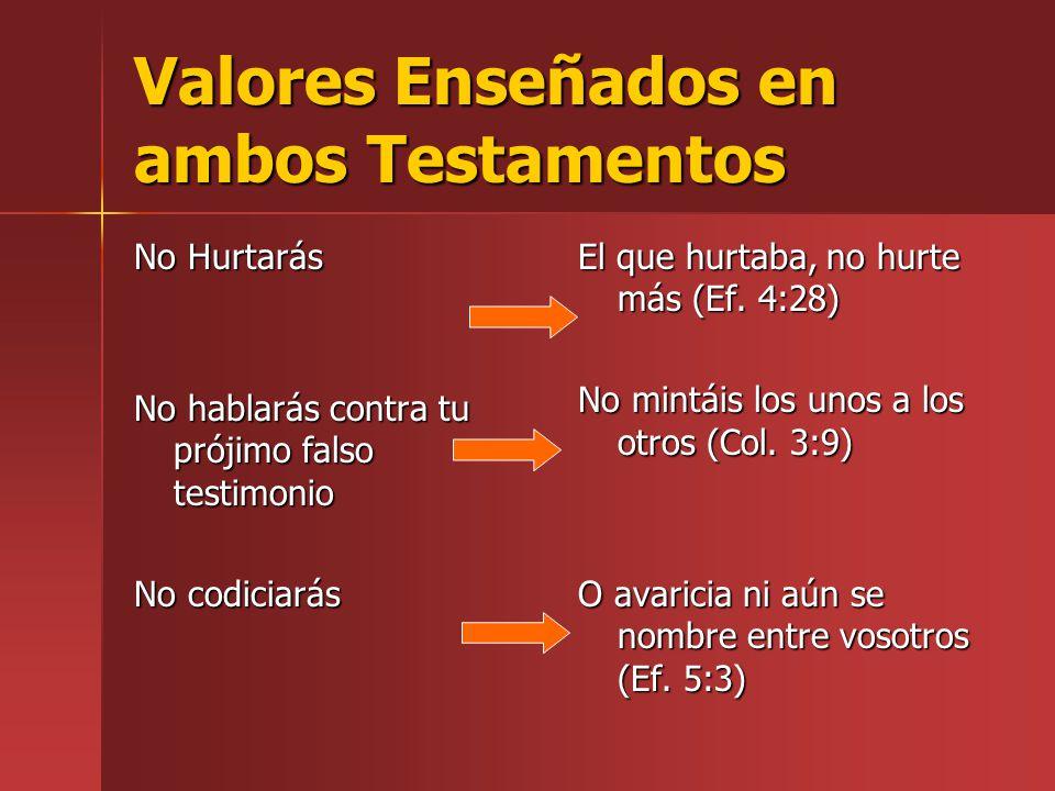 Valores Enseñados en ambos Testamentos No Hurtarás No hablarás contra tu prójimo falso testimonio No codiciarás El que hurtaba, no hurte más (Ef. 4:28