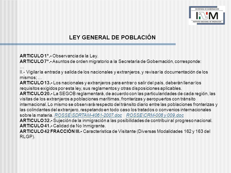 LEY GENERAL DE POBLACIÓN ARTICULO 1°.- Observancia de la Ley.