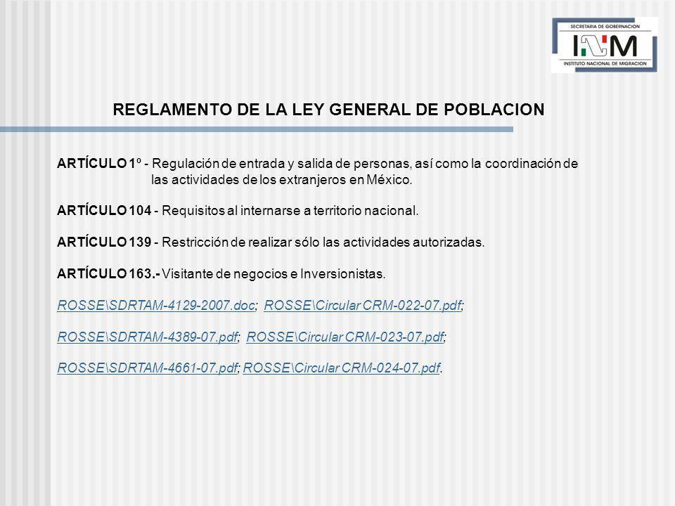 ARTÍCULO 1º - Regulación de entrada y salida de personas, así como la coordinación de las actividades de los extranjeros en México.