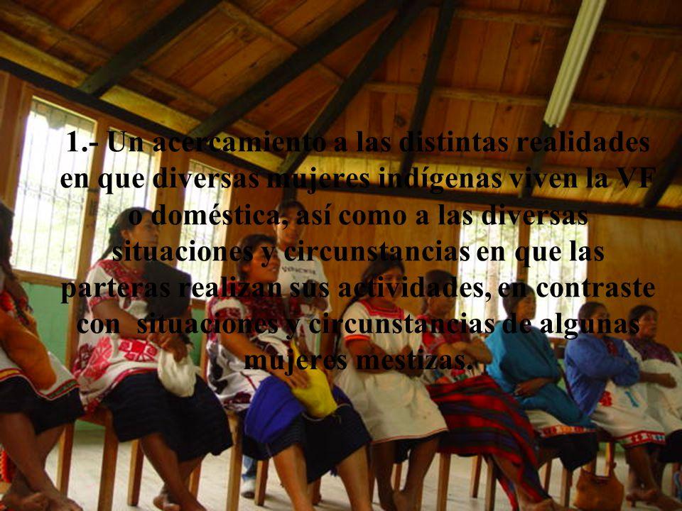 1.- Un acercamiento a las distintas realidades en que diversas mujeres indígenas viven la VF o doméstica, así como a las diversas situaciones y circunstancias en que las parteras realizan sus actividades, en contraste con situaciones y circunstancias de algunas mujeres mestizas.
