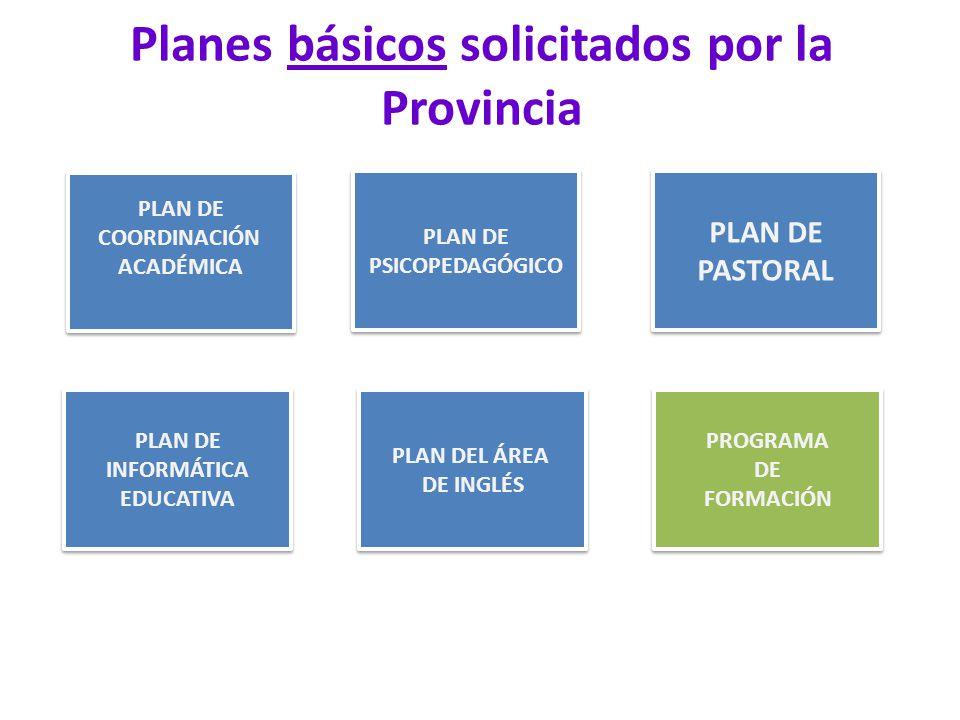 Planes básicos solicitados por la Provincia PLAN DE COORDINACIÓN ACADÉMICA PLAN DE COORDINACIÓN ACADÉMICA PLAN DE PASTORAL PLAN DE PASTORAL PLAN DE PSICOPEDAGÓGICO PLAN DE PSICOPEDAGÓGICO PLAN DE INFORMÁTICA EDUCATIVA PLAN DE INFORMÁTICA EDUCATIVA PROGRAMA DE FORMACIÓN PROGRAMA DE FORMACIÓN PLAN DEL ÁREA DE INGLÉS PLAN DEL ÁREA DE INGLÉS