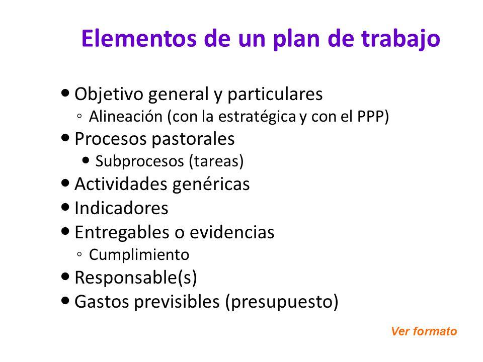 Elementos de un plan de trabajo Objetivo general y particulares Alineación (con la estratégica y con el PPP) Procesos pastorales Subprocesos (tareas)