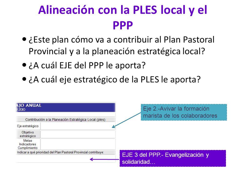 Alineación con la PLES local y el PPP ¿Este plan cómo va a contribuir al Plan Pastoral Provincial y a la planeación estratégica local? ¿A cuál EJE del
