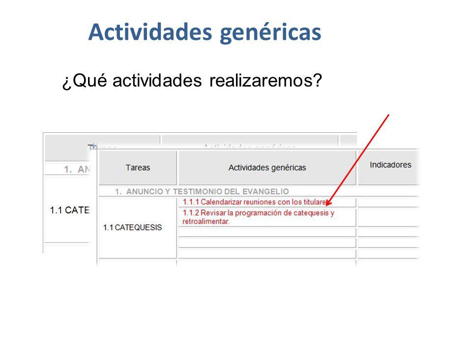 Actividades genéricas ¿Qué actividades realizaremos?