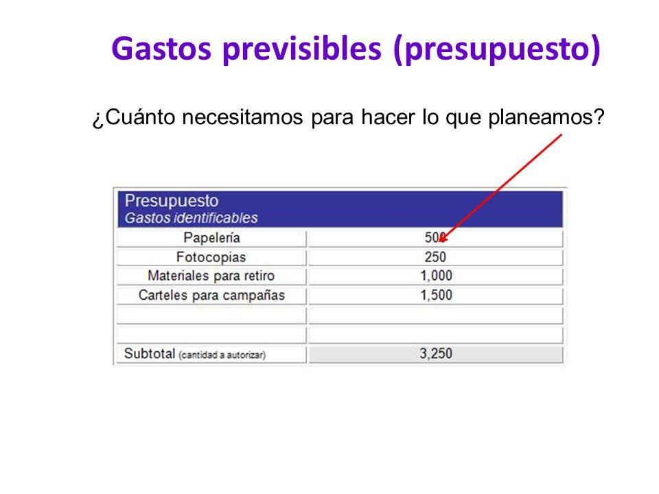 Gastos previsibles (presupuesto) ¿Cuánto necesitamos para hacer lo que planeamos?
