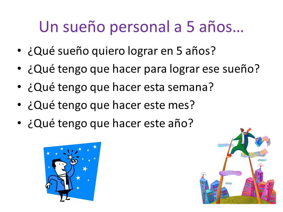 Un sueño personal a 5 años… ¿Qué sueño quiero lograr en 5 años? ¿Qué tengo que hacer para lograr ese sueño? ¿Qué tengo que hacer esta semana? ¿Qué ten
