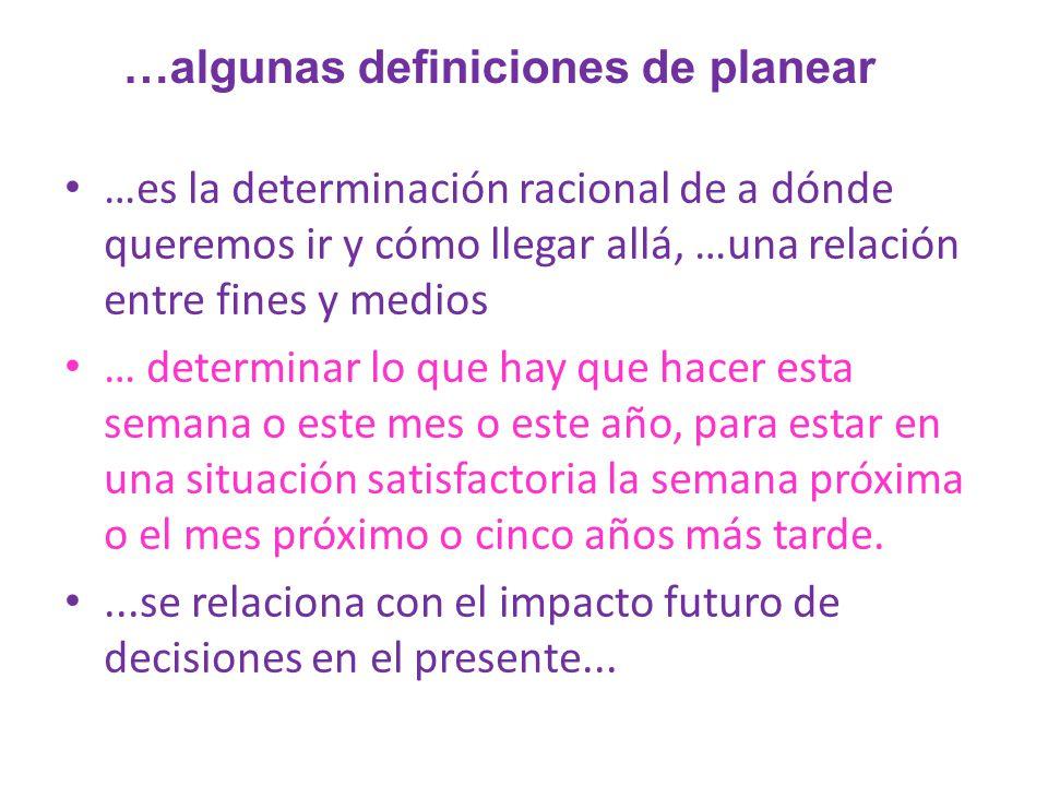…es la determinación racional de a dónde queremos ir y cómo llegar allá, …una relación entre fines y medios … determinar lo que hay que hacer esta sem